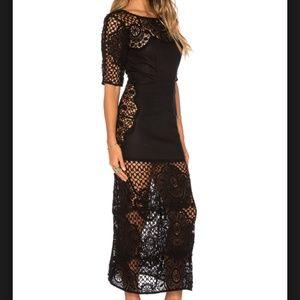 For Love & Lemons Black Lace Midi Dress with slip